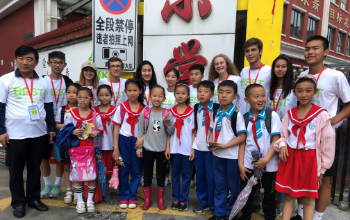 BEST Braves with students they served in China