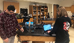 students in lab w probes