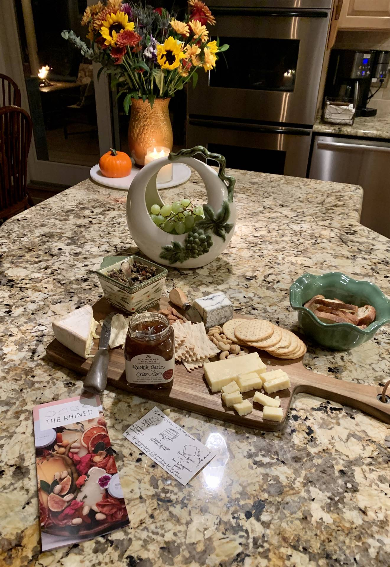 display of cheese and wine