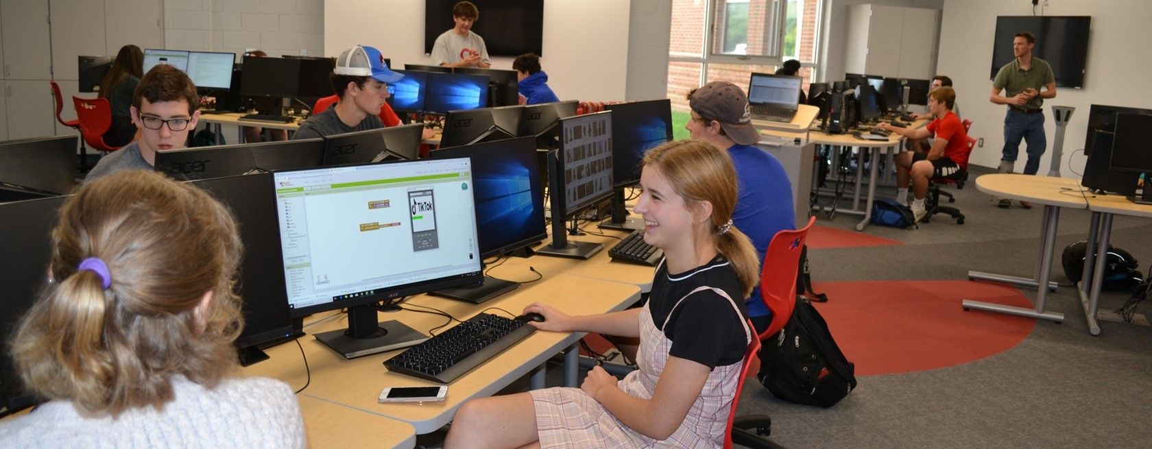 view of students at work in Digital Arts Technology Lab
